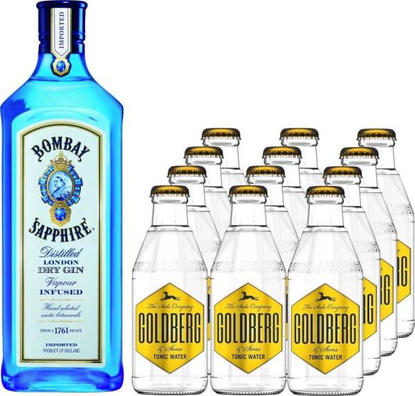Bombay Sapphire Gin 1l mit 12x Goldberg Tonic Water 0,2l