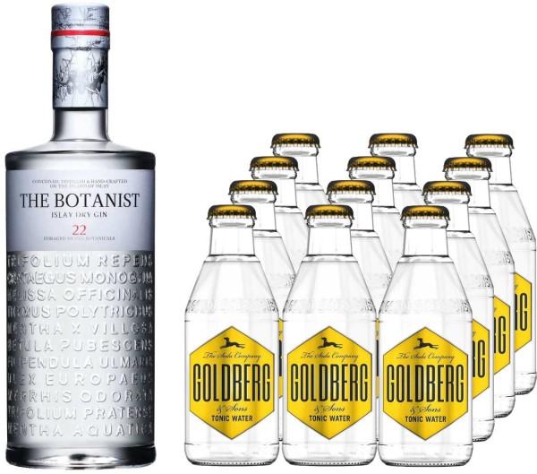 The Botanist Gin 0,7l mit 12x Goldberg Tonic Water 0,2l